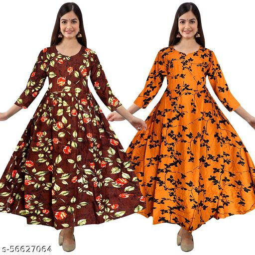 Women's Printed Rayon Flared Gowns