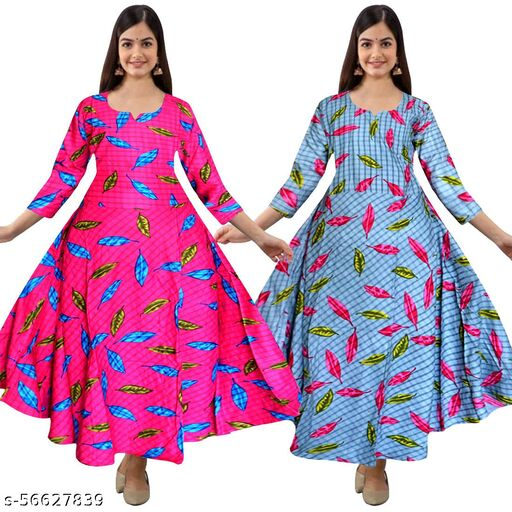 QKING Rayon Western Wear Full Sleeve Gowns