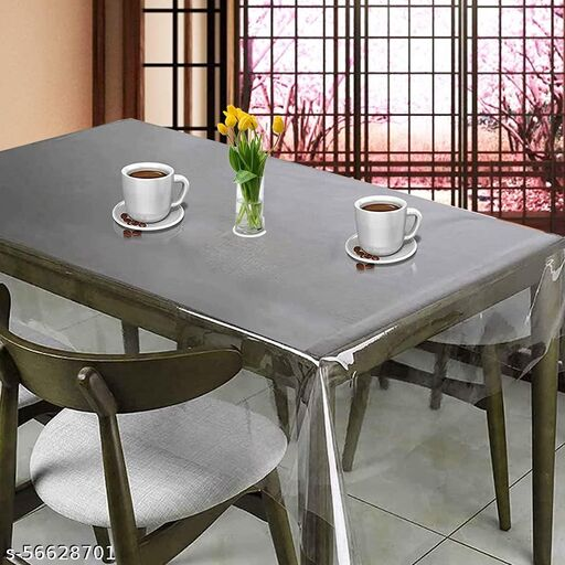 CASA-BEST 2-4 Seater Waterproff Transparent PVC Table Cover; Anti Slip; Plastic Cover; 40 x 60 Inches without Border