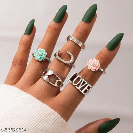 Destiny Jewel's Combo of 6 Pcs  New Fashion Daisy Flower Ring For Womens & Girls