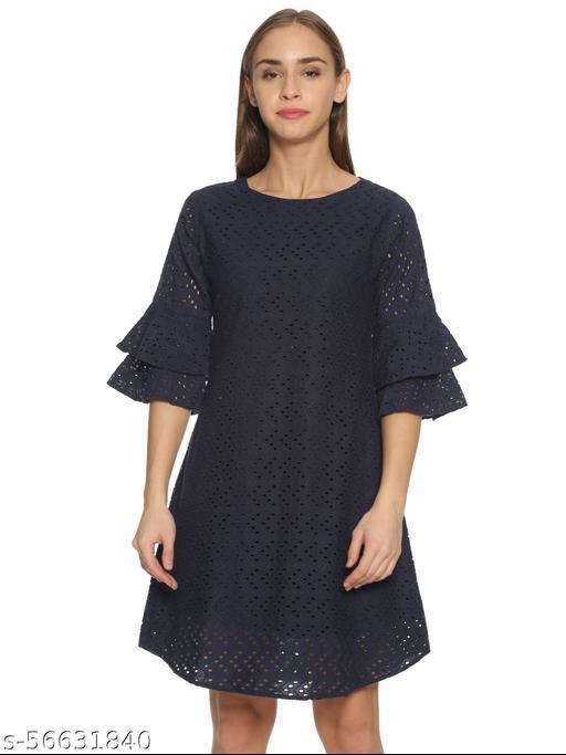 GLORY & I- NAVY BLUE COTTON HAKOBA BELL SLEEVES DRESS
