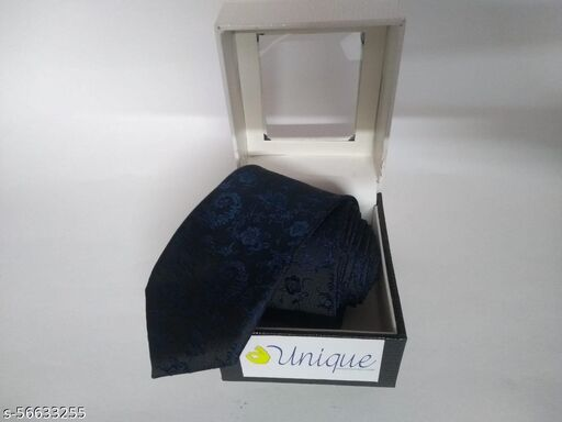 Unique Microfiber Premium Navy Blue colored Necktie for Men