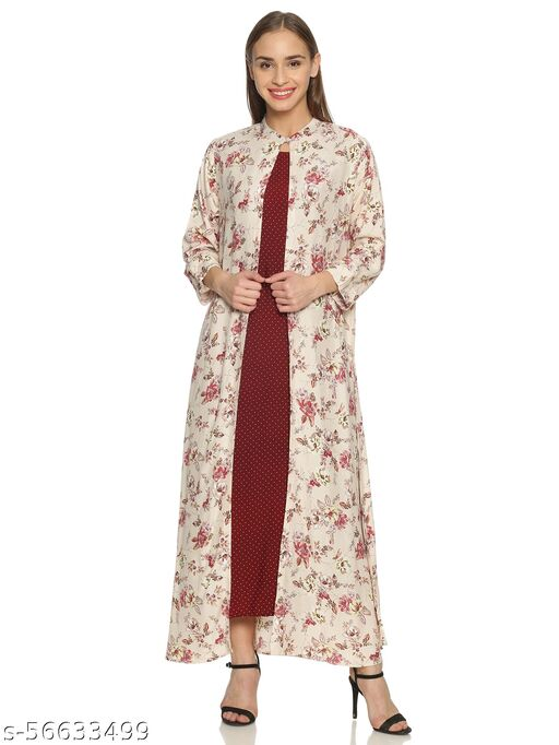 GLORY&I-MAROON WITH POLKA AND FLORAL FULL LENGTH DRESS SET (WITH SHRUG AND SLEEVLESS POLKA DRESS)