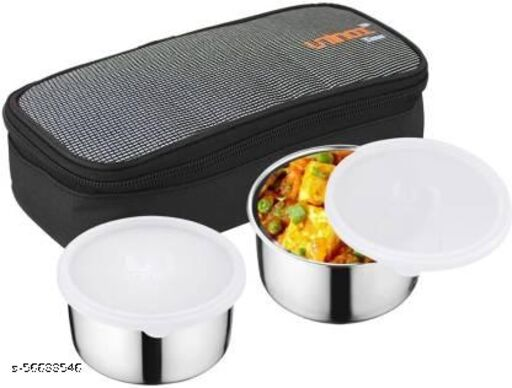 Lunch Box with Stainless Steel Leak Proof 2 Containers with Insulated Fabric Bag | Use for Office, School and College 2 Containers Lunch Box 2 Containers Lunch Box  (650 ml)