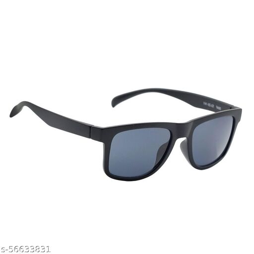 Momentum Square Black Sunglasses For Boy's & Girls | Full Black Frame | MM-80