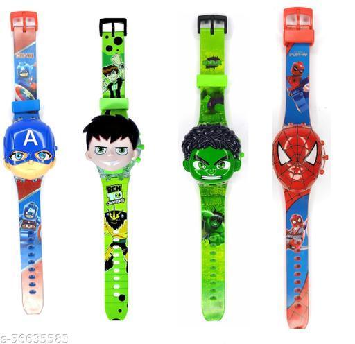 Pack of 2 Super Hero Kid Glowing Watch with Music Digital Watch Birthday Return Gift - for Boys & Girls (Random superhero characters)