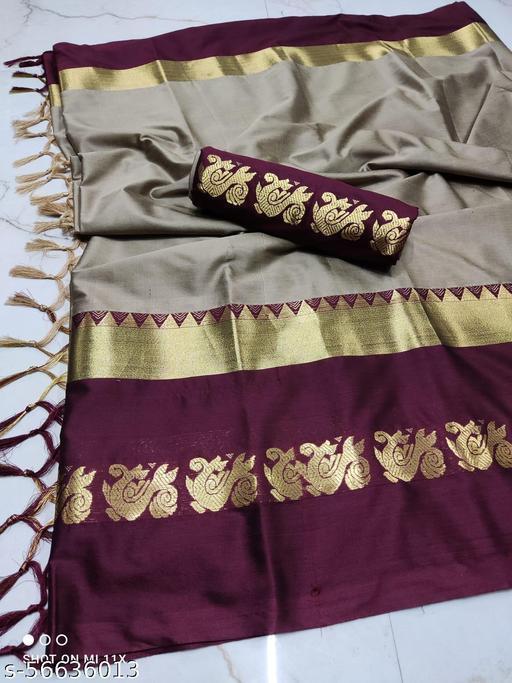 pooja Original soft cotton silk duck design  saree With Blouse