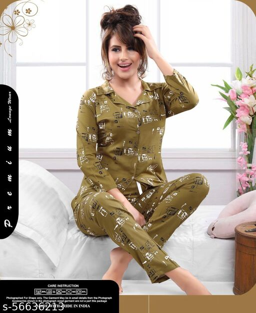 Floral Print Full Sleeves Rayon Cotton Nightsuits with Pajamas for Women