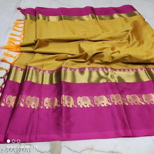 pooja saree Original soft cotton silk hathi  design  saree With Blouse