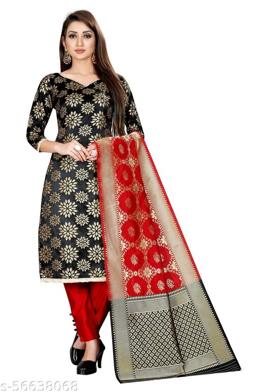 Well Worn Women's ethnic wear banarasi cotton silk black colour unstitched dress material.