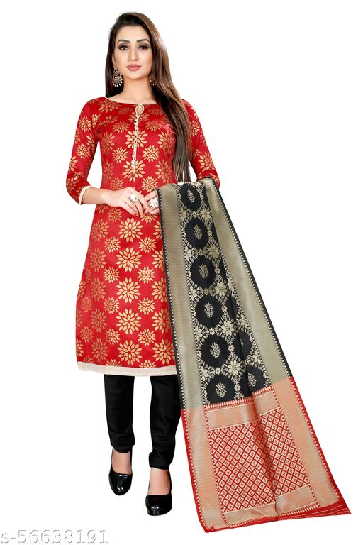 Indian Culture Women's ethnic wear banarasi cotton silk red colour unstitched dress material.