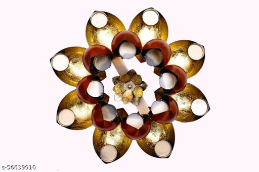 Lotus Design Diya with Flower Tealight Holder for Table and Home Decoration
