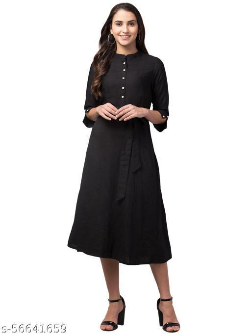 Rayon Black Asymmetric Dress