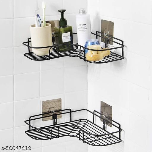 Bathroom Corner Shelf Adhesive Racks and Shelves Side Stand Corner Rack Toilet Shelf for Modern New Kitchen assecories Item Product for Storage Metal (Black)