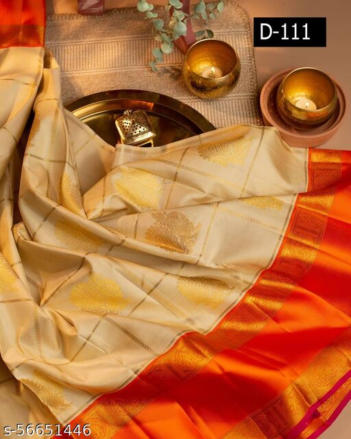 KANJEEVARAM SILK WITH ORANGE BORDER JARI PEACOCK WITH LIGHTLY CHECKED DESIGN SAREES VERY BEAUTIFUL AND EXCLUSIVELY ATTRACTIVE