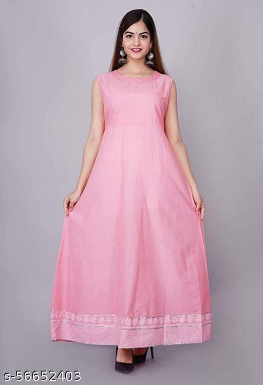Women Rayon Printed Pink Long Kurti