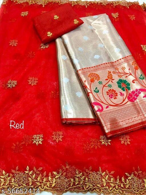 ROSE VILLA NEW HALF SAREE LEHGHA CHOLI(Pure tissue paitani weaving Lehangas ,with contrast blouse and contrast cut work voni)