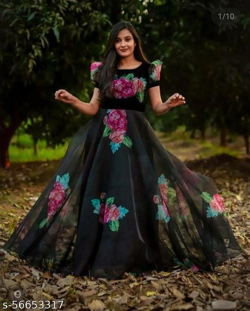 Black Georgette Digital Printed Designer Gown
