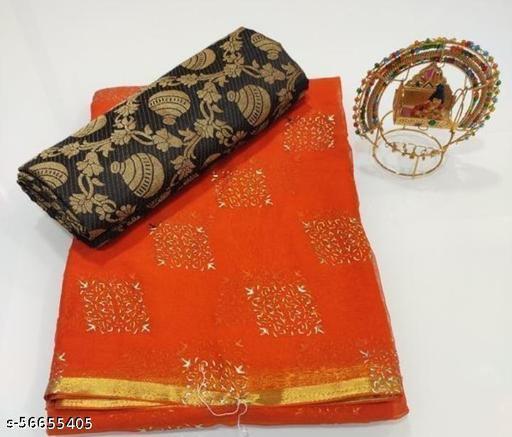 Women's Woven Nazmin Chiffon Saree With Blouse Piece