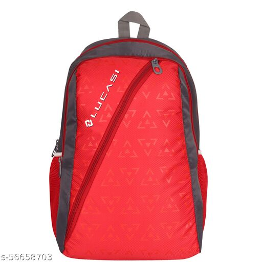 Lucasi Red and Grey Light Weight 23L School and Tuition bag , Backpack -LUC320