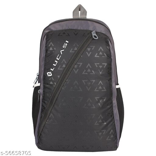 Lucasi  Black Grey Light Weight 23L School and Tuition Bag Backpack -LUC322