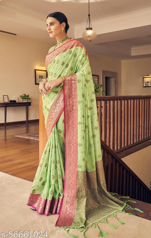 Aurima Tusser Silk Weaving Woven Designer Saree For Women (Green)