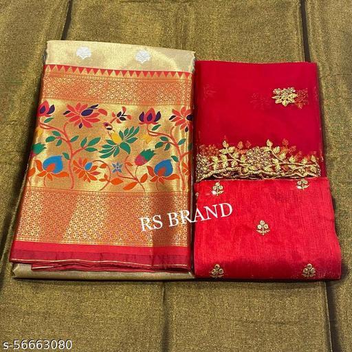 ROSEBUDS HALF SAREE LEHGHA CHOLI(Pure tissue paitani weaving Lehangas ,with contrast blouse and contrast cut work voni)