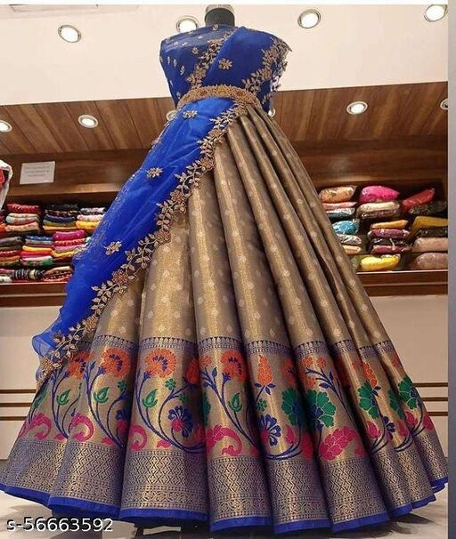ROSE CLOUD NEW HALF SAREE LEHGHA CHOLI(Pure tissue paitani weaving Lehangas ,with contrast blouse and contrast cut work voni)