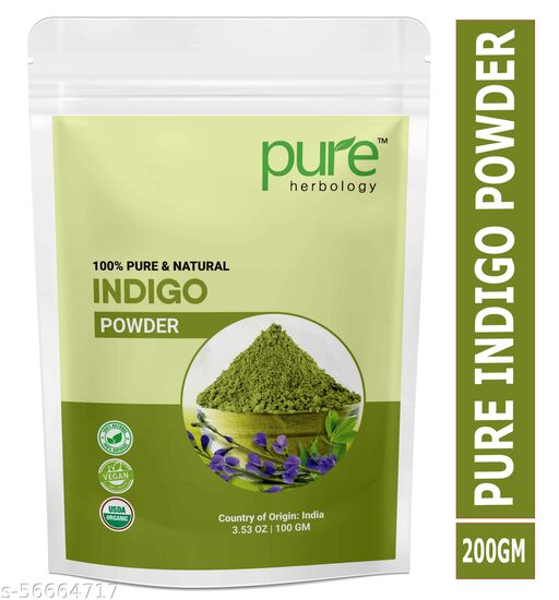 Pure Herbology Pure & Natural Indian Indigo Powder for Hair Care & Hair Growth, 200gm