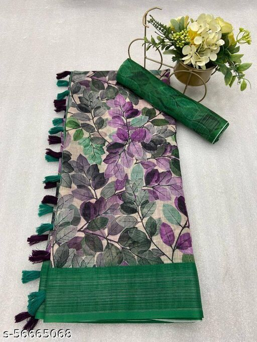 Pure Linen woven Digital Print Saree with Blouse Piece