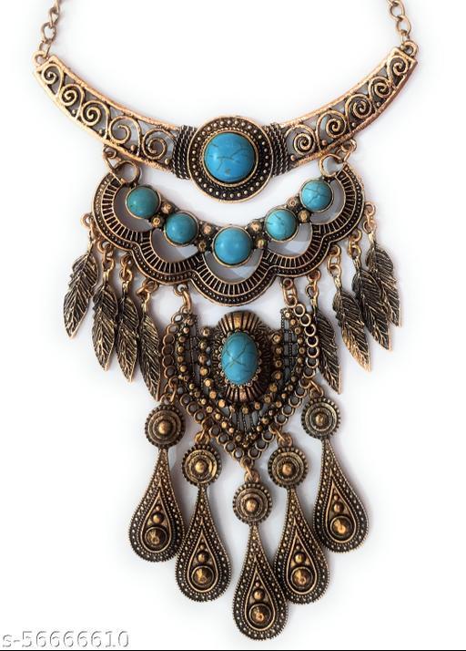 Gaurav Boutique Antique Statement Necklace For Women And Girls (Golden - ST15)