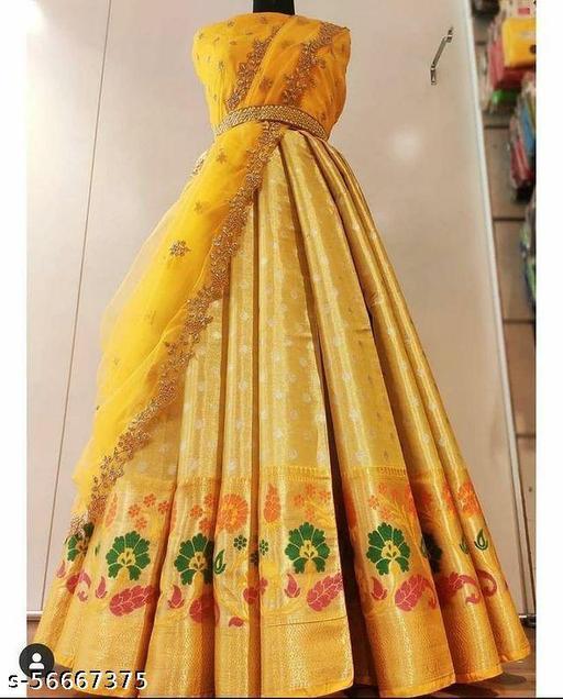 VINTAGESTUFF NEW HALF SAREE LEHGHA CHOLI(Pure tissue paitani weaving Lehangas ,with contrast blouse and contrast cut work voni)