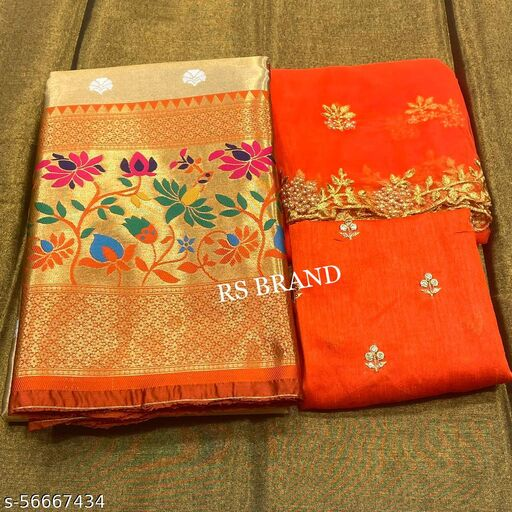 VINTAGESTUFF HALF  LEHGHA CHOLI(Pure tissue paitani weaving Lehangas ,with contrast blouse and contrast cut work voni)