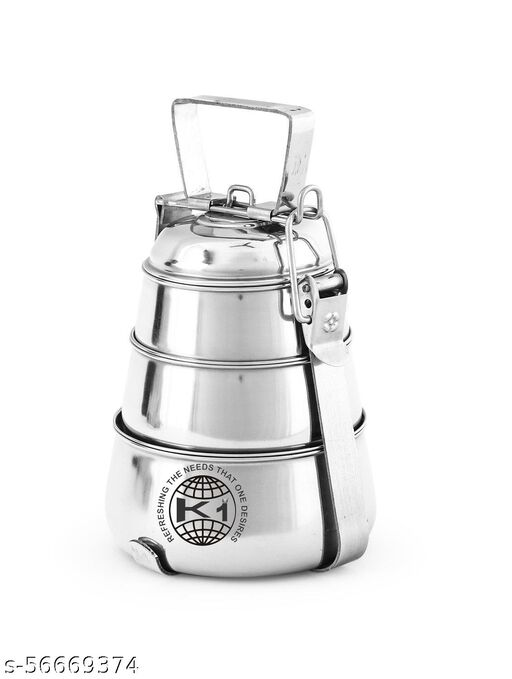 Pushpanjali Stainless Steel 3 Box Pyramid Tiffin 3 Containers Lunch Box (1200 ml)