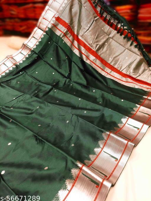 Muniyaa Border Traditional Paithani Cotton Silk Sarees With Contrast Blouse Piece (Green & Silver)
