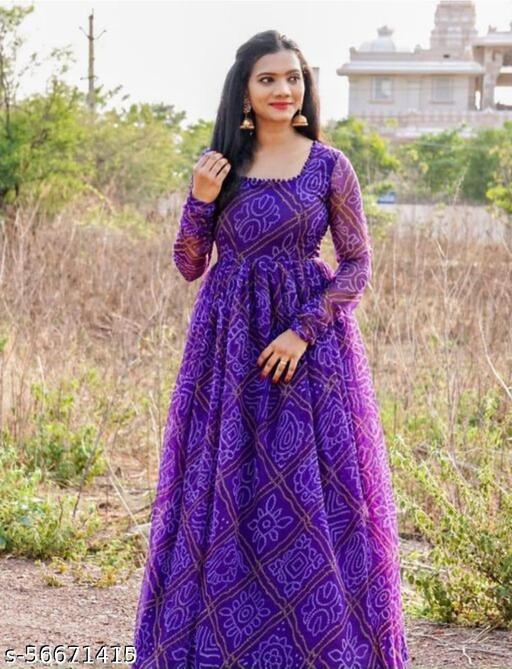 Women's Cotton Bandhni Printed gown