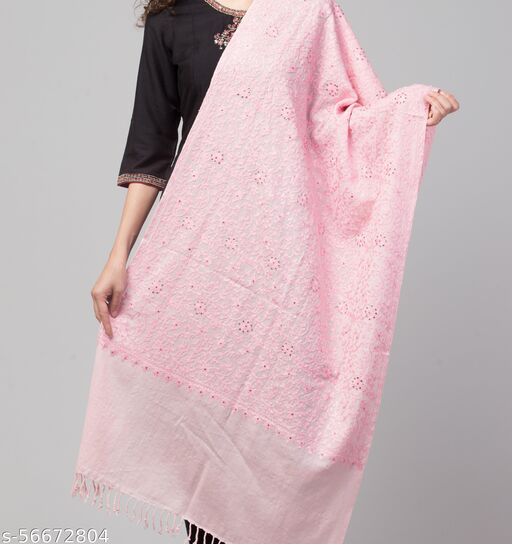 Beautiful and Stylish Pure Wool  Pink Single colour Embroiderd Shawl/Stole for Women /Ladies/ Girls for Winters