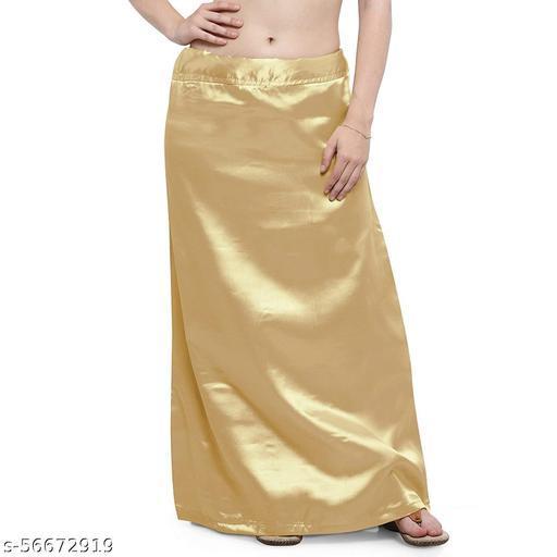 Women's Satin Petticoat Saree Satin Underskirt Sari Satin Silk Petticoat Underwear/Size- Free Size, Waist Adjustable/Color-Golden