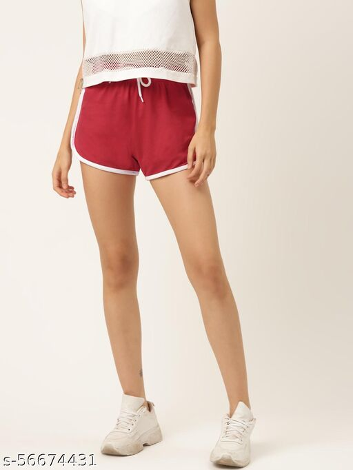 The Dry State Women Red Coloured Regular Fit Shorts