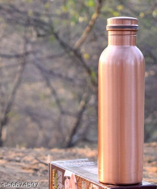 KSJ Dirt Proof Leak Proof and Joint Less Mat Finish Ayurveda and Yoga Health Benefits Copper Water Bottle (1 L)