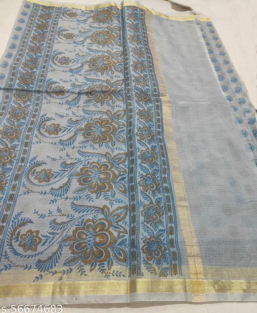 Berbera Women's Kota Doria Cotton Hand Block Silk Floral Print Traditional Saree With Blouse Piece- 6.30 Meter