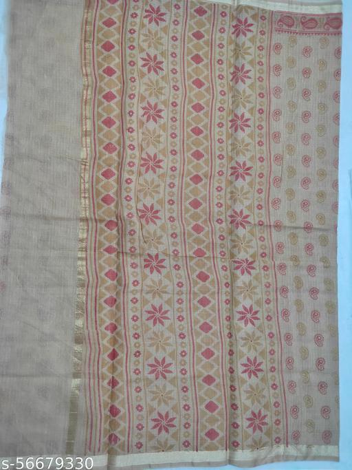 Berbera  Women's Kota Doria Cotton silk Printed Traditional Saree With Blouse Piece