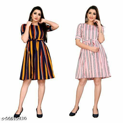 Women  Pretty Latest  A-line Multicolor Dress