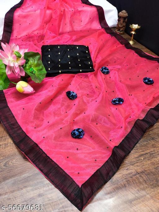 Latest Net Butta Women Saree Red