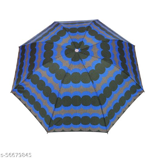 BIU-7036-PD-STR-GRN_B__Bizarro.in 4 Fold STRIPED AND POLKA DOTS BRAND NEW FASHIONABLE MANUAL OPEN UMBRELLA WITH RUSTPROOF COATED SHAFT MATERIAL AND RUBBER COATED PLASTIC HANDLE- SUTAIBLE FOR WOMEN::GIRLS-017