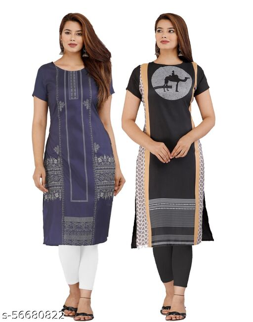 Latest lowest Price Designer Degital Printed Crepe Fabric Kurtis With 2Combo Collacation for Girl's and Women's