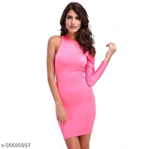 HOTKEI Pink Party Wear One Shoulder Bodycon Backless Dress For Women