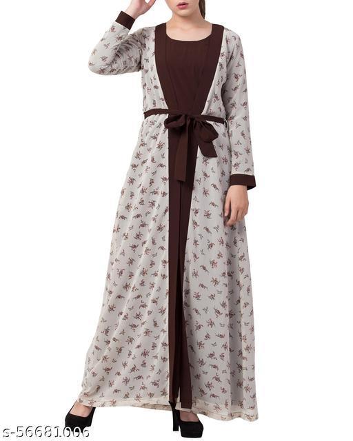 Elegant Printed Abaya Dress with Shrug and Matching Belt
