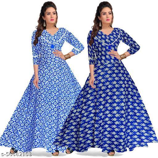 MANZIL SHOPPING Latest Women Cotton Anarkali Dresses