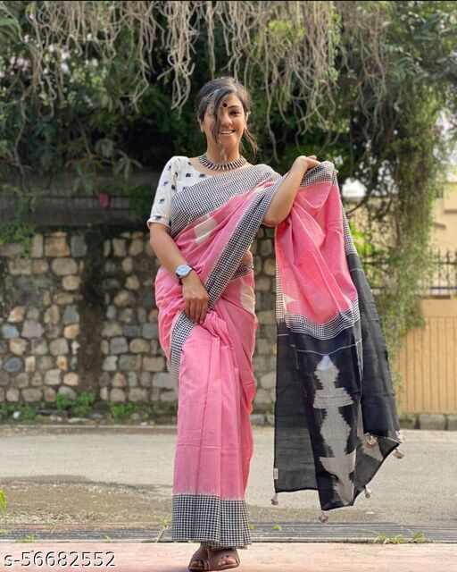 HAND BLOCK PRINTED COTTON MULMUL SAREE WITH BLOUSE